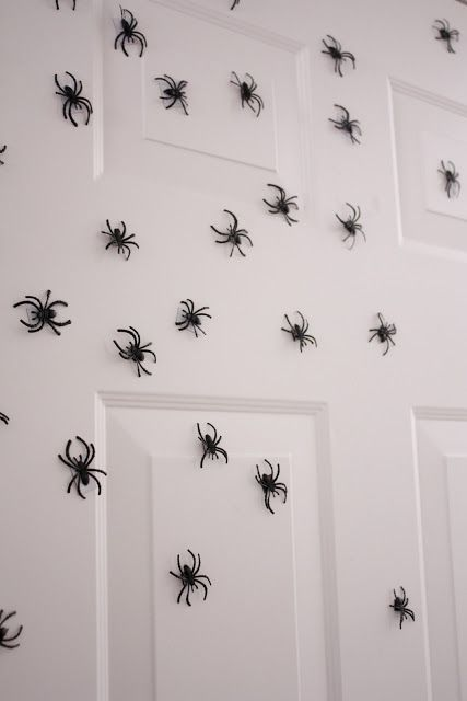 "Glue magnets to the back of spiders and put on front door. I bought about a hundred plastic spiders from the target cheap-o section for $2.50. Then I got magnet ""tape"" from Joann Fabric for 80 cents. Hot glued the tape to the back of the spiders and voila! Really creepy halloween door. These babies are going to be scattered around our halloween wreath on the front door this year!"