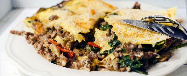 Gewoon wat een studentje 's avonds eet: Dinner: Lasagne met kruidenroomkaas, spinazie, gehakt, tomaatjes, champignons en kaas