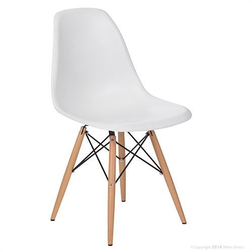 DSW Dining Side Chair Wooden Legs - Eames Reproduction - White - Matte