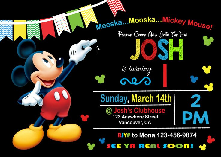 41 best mickey images on Pinterest Free printable, Mickey mouse - mickey mouse invitation template