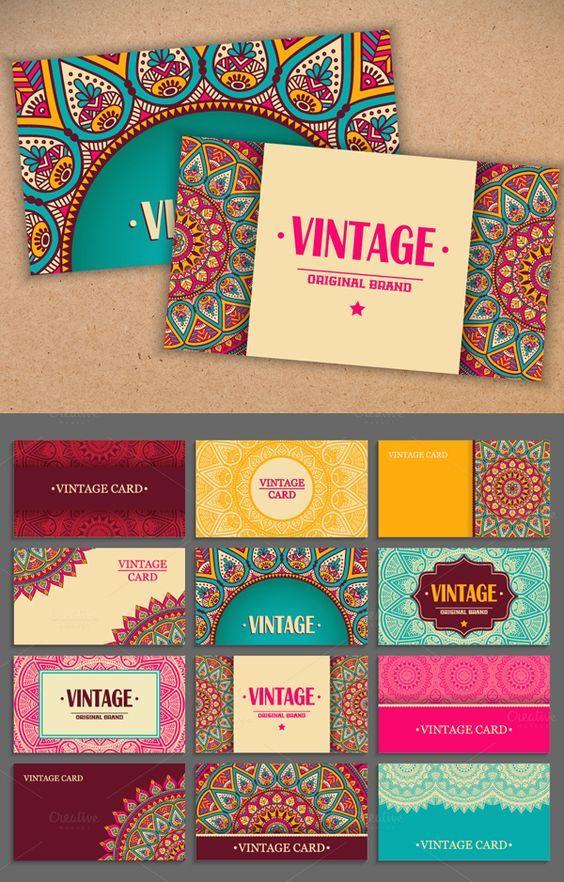 Tarjetas de visita modernas vintage