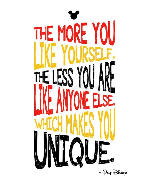 The more you like yourself, Walt Disney quote, Mickey Mouse, kids wall art, 8x10 typography print by BeckyMcCreary, $5.00