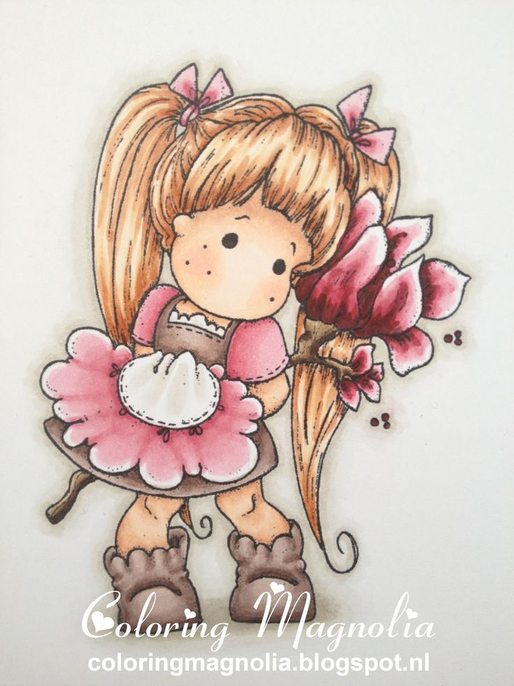 Coloring Magnolia Stamp 2013 With Love Collection - Tilda with Love  Copics:  Haar: E13-E53-E21-E50  Huid: E13-E11-E00-E000-R20  Kleding en laarzen: R85-R83-R81 -- W01-W00 --E77-E74-E71-E70  Magnolia: E49-E47-E44-E42 -- R89-R85-R83-R81  Achtergrond Schaduw: W03-W01-W00