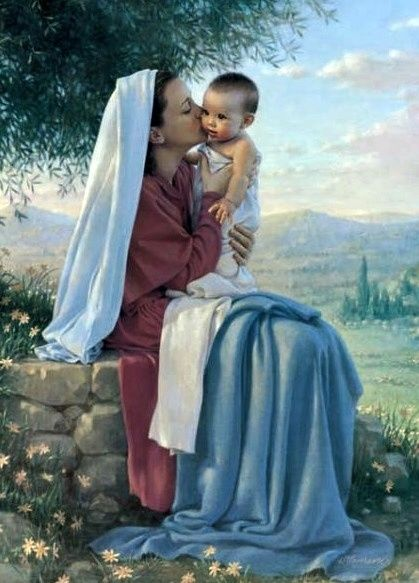 Kathy Lawrence painting of Baby Jesus and his tender and very loving mother Mary ...