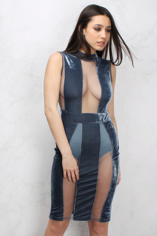 Blue Velvet and Mesh Panelled Bodycon Dress | Rare London