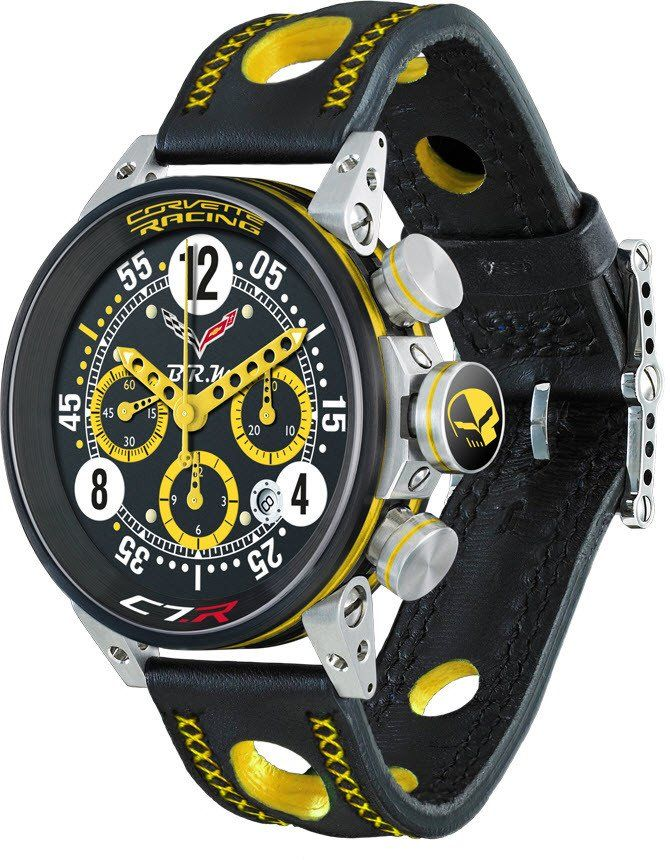 B.R.M Watch V12-44 Corvette Racing Yellow Hands Limited Edition #add-content #basel-17 #bezel-fixed #bracelet-strap-leather #brand-b-r-m-watches #case-material-steel #case-width-44mm #chronograph-yes #date-yes #delivery-timescale-call-us #dial-colour-blac