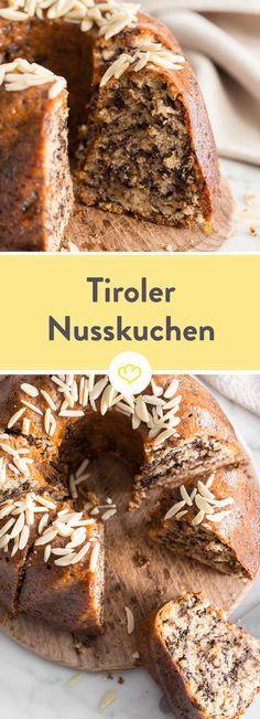 Der Nusskuchen mit der Extraportion Schokolade und der unverwechselbaren Aprikosenglasur gehört einfach zu jedem Hütten-Kaffeeklatsch.