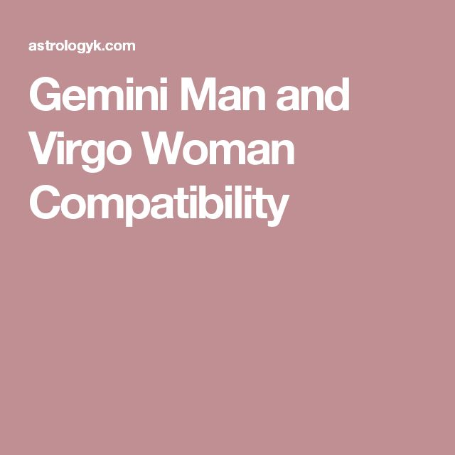 gemini man and virgo relationship