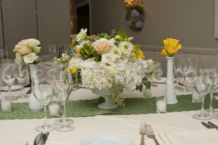 milk glass wedding centerpieces | Noelle and Mordy's Wedding at Crabtree's Kittle House, Chappauqua, New ...