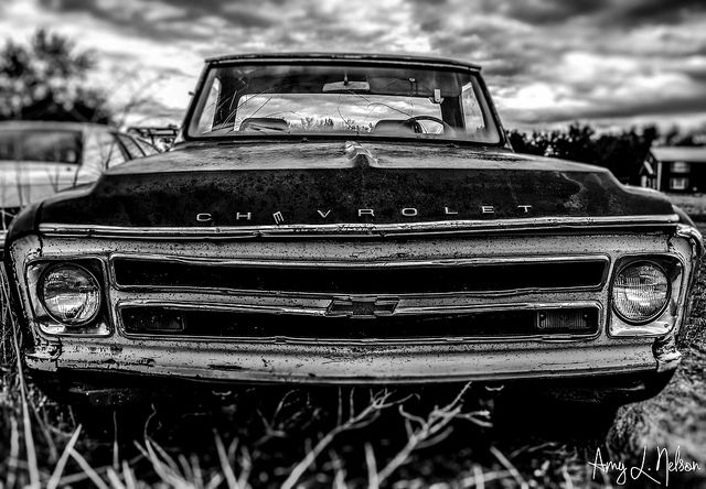 Old Chevy Pickup.. I just like this black n white picture.  Cute