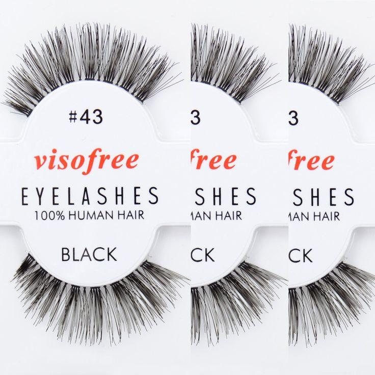12 pairs Visofree Eyelashes 100% Human Hair Handmade False Eyelashes Messy Nature Eye Lashes #43 maquiagem