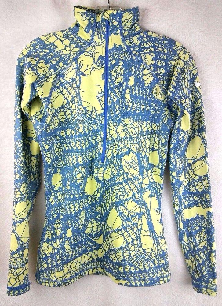 Nike Womens Running Jacket Sz S Lime Green Blue Geometric Zipper Thumb Holes #Nike #CoatsJackets
