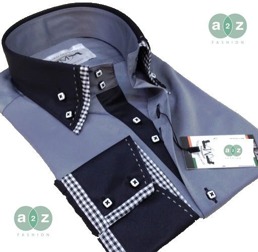 Brand New Men's Formal, Smart, Grey with Black, Check Double Collar Casual Italian Design Slim Fit Shirt, with Contrast White, Black and Grey Checks