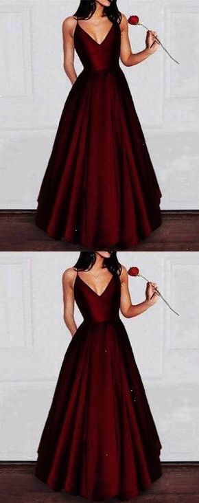 Amazing A-Line Burgundy Satin Homecoming Dress Long Prom Dresses