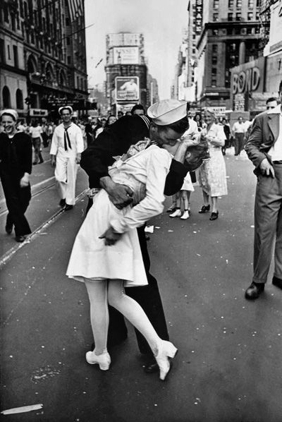 V-J Day in Times Square is a photograph by Alfred Eisenstaedt that portrays an American sailor kissing a woman in a white dress on Victory over Japan Day in Times Square, New York City, on August 14, 1945. - I want to re-enact this one day!