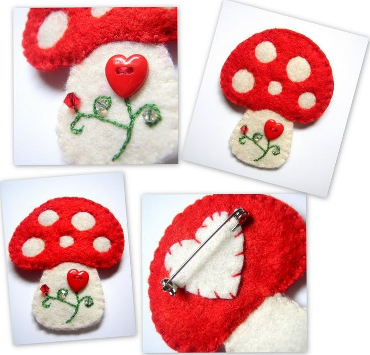 Splendidly cute little felt toadstool pin- I am going to use the back side idea!