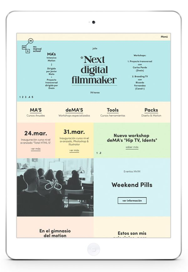 Mr Marcel School Next Digital Filmmaker iPad Digital Magazine | User Interface Design