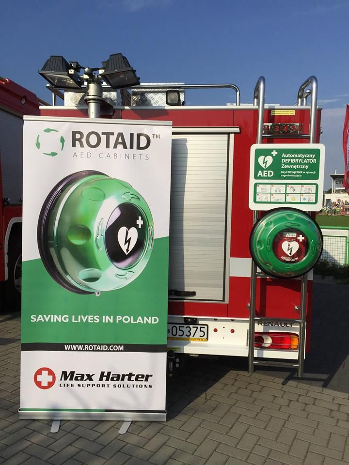 Fire Department equipped with a Rotaid AED cabinet in Poland.