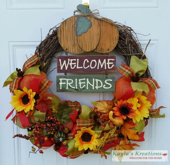 Welcome Grapevine Wreath, Grapevine Fall Wreath, Fall Wreath Pumpkin, Fall Ribbon Wreath, Fall Wreath Front Door, Fall Sunflower Wreath for $78.00 by Kayla's Kreations