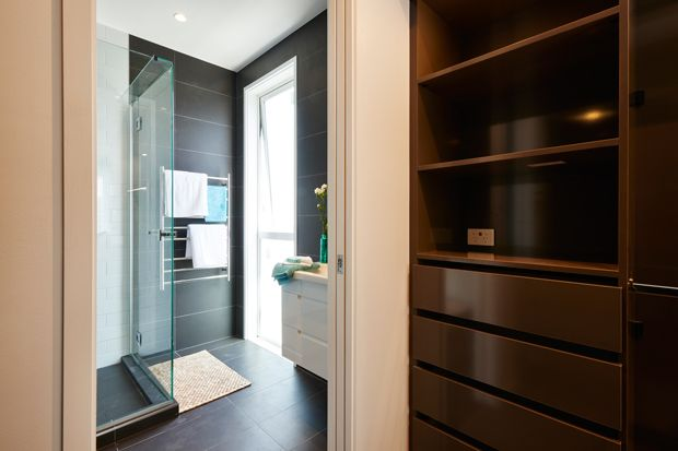 Quinn & Ben's Ensuite - Their wardrobe creates the perfect thoroughfare into their luxurious bathroom - The Block NZ 2014 - Visit blog.curate.co.nz for links to all products