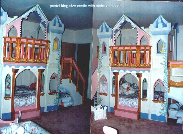 Large Castle Bed, Lower Mattress Was King Size. Upper Section Was Play  Area, With Balcony, Slide On The Left Side, Storage All Over And A Bookcase  U2026