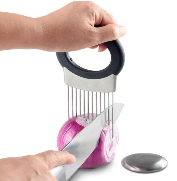 This all-in-one kitchen gadget allows you to chop uniform slices of onion without having to ever touch it. See images above. It features ultra-sharp stainless s