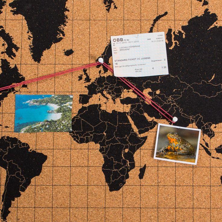 Die Kork-Pinnwand Weltkarte als zeitlos-elegantes und nachhaltiges Deko-Objekt für Erinnerungen, Listen, Ansichtskarten und andere wichtige Dinge.