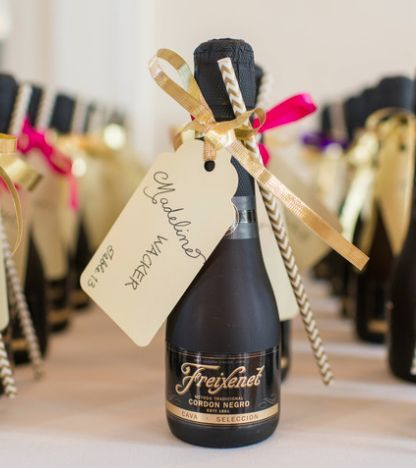 Featured Photographer: Stephanie Dee Photography; Classy mini black and gold champagne wedding favors idea
