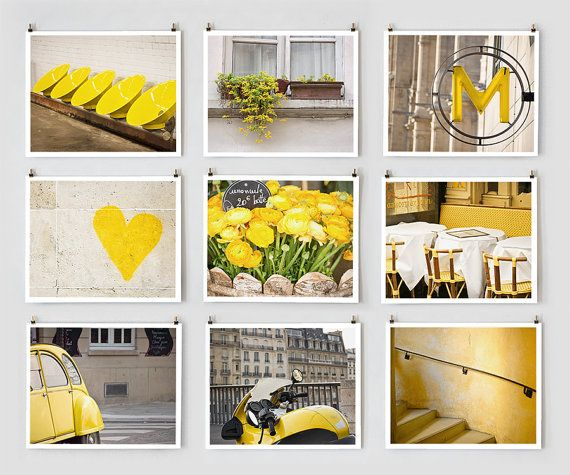 Collection of Paris photos in yellow. White border