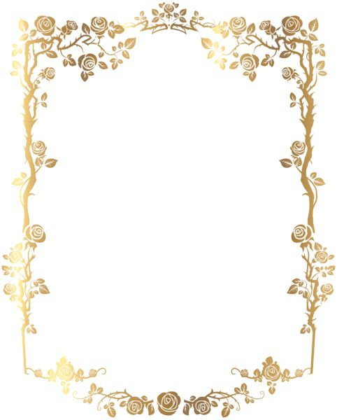Decorative Rose Frame PNG Clip Art Image