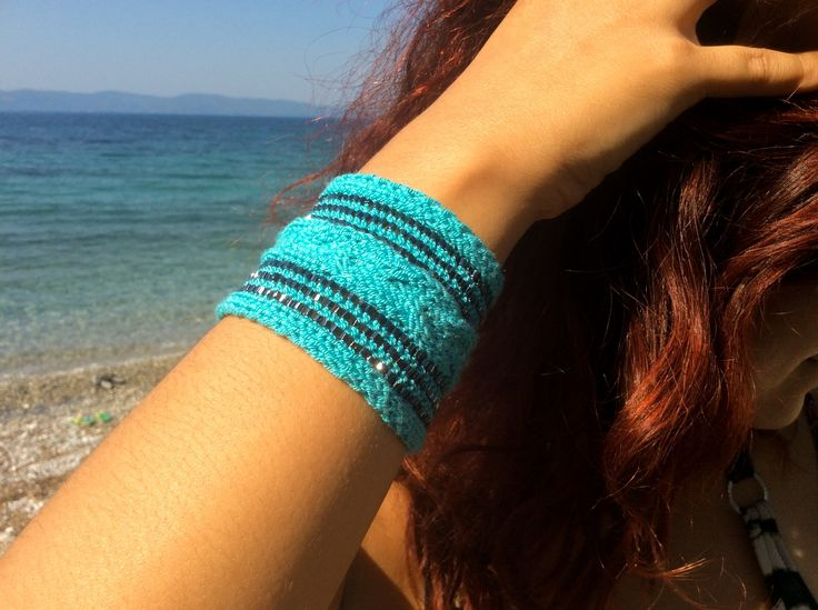 Turquoise wristband band, small sweatbands tattoo cover up, stretch wrist cuff bracelet
