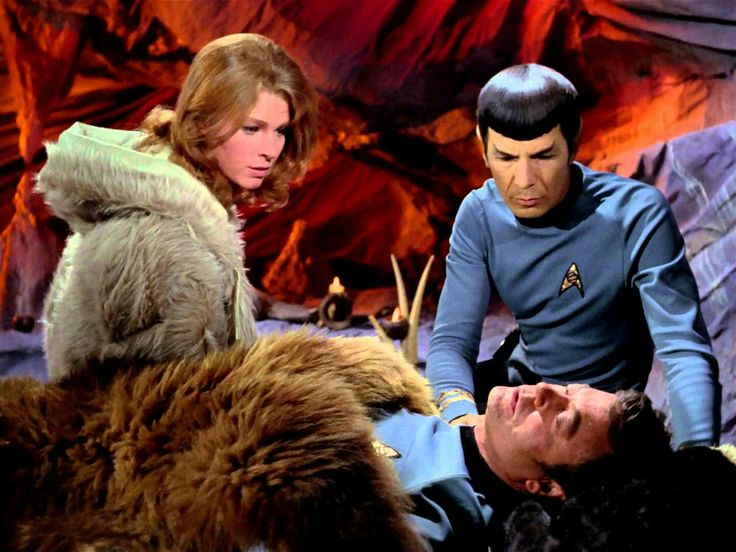"Zarabeth (Mariette Hartley), Mr. Spock (Leonard Nimoy), and Dr. McCoy (DeForest Kelley) - Star Trek: The Original Series S03E23: ""All Our Yesterdays"" (First Broadcast: March 14, 1969)"
