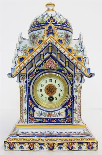 ABSOLUTELY BEAUTIFUL ANTIQUE FRENCH HAND PAINTED FAIENCE PORCELAIN MANTEL CLOCK