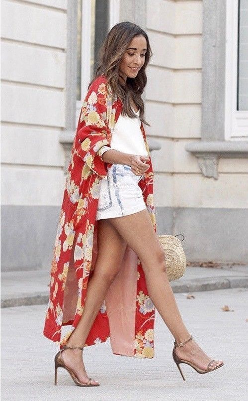 6c1f6644 NWT ZARA Red Coral Printed Kimono with Button Midi Dress Size S-M Ref.3067/ 200 #ZARA #Dress #Casual