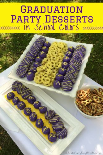 Great idea for graduation parties - match the school colors & everybody loves chocolate dipped treats!