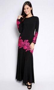 Glam Kurung with Fuschia Prada Lace in Black