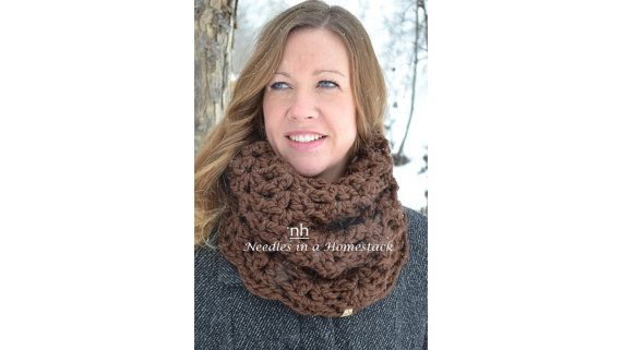 Cozy Slouch Cowl Scarf Crochet Cowl Ladies by NeedlesinaHomestack