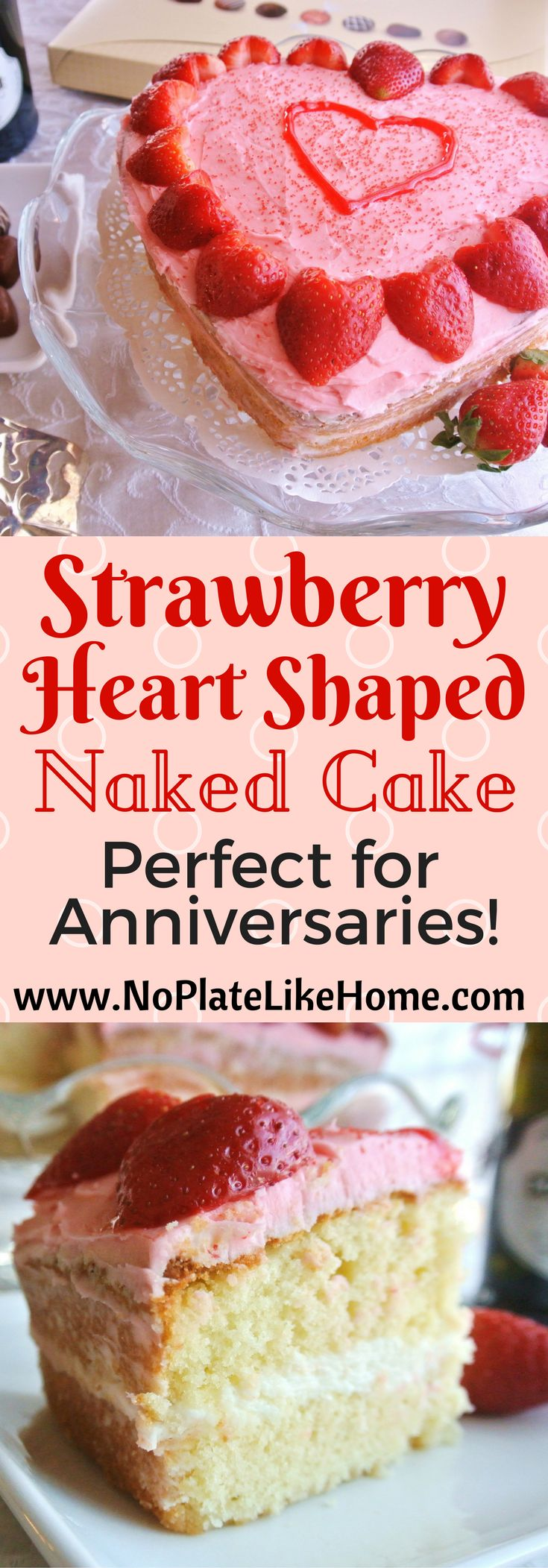 This is a cute heart-shaped naked cake to make your significant other for your anniversary or just to show them you love them. Use any cake recipe you like but, this one is almond sour cream pound cake with almond buttercream frosting!