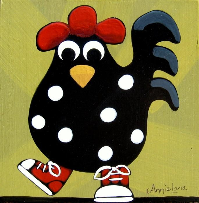 """"""" RED ROOSTER """" Whimsical Rooster Art Painting by Annie Lane www.yessy.com/annielane"""