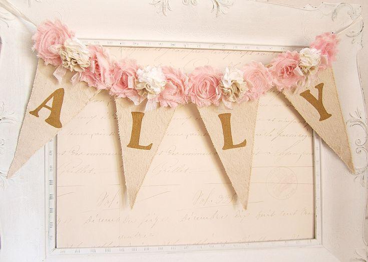 Girl Name Banner, Pink and Gold Birthday, Shabby Chic Nursery Banner, Girl 1st Birthday Decor, Shabby Chic Wedding, Bridal Shower Decor by kathyjacobson on Etsy https://www.etsy.com/listing/226263377/girl-name-banner-pink-and-gold-birthday