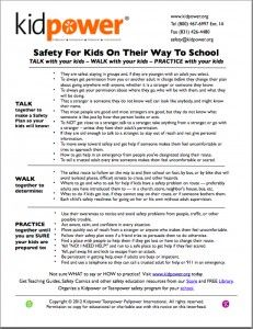Kidpower Safety For Kids On The Way To School Checklist - Kidnapping Prevention