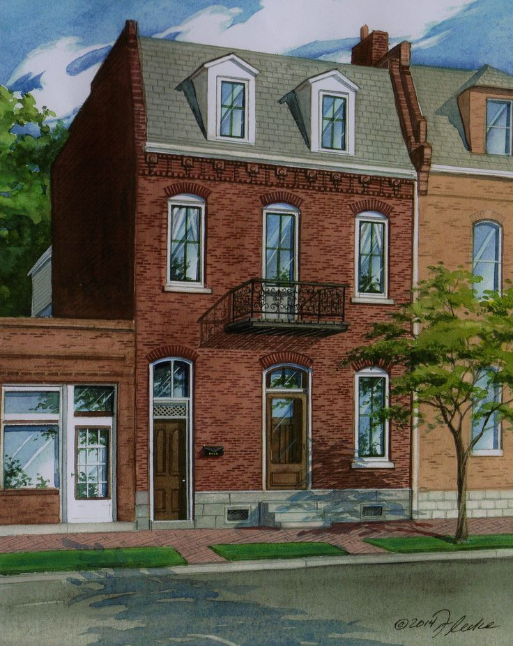 Watercolor custom house portraits 10 handpicked ideas to for Custom built brick homes