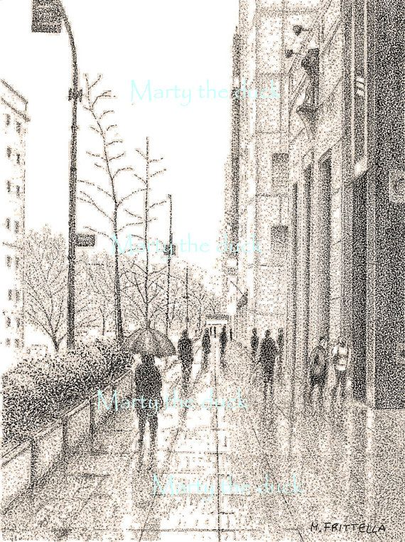 New York city  rain  Chinese ink drawing by MartytheDuck on Etsy, €100.00