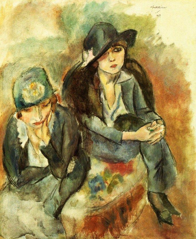 Жюль  Паскин (Мордехай Пинкас). Портрет жены художника с подругой. 1914 г.