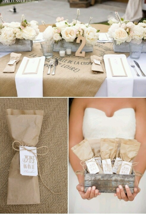 silvered wood, burlap, craft paper, white candles in clear glass