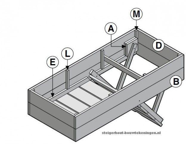 Gratis bouwtekening voor een steigerhout strandbed.