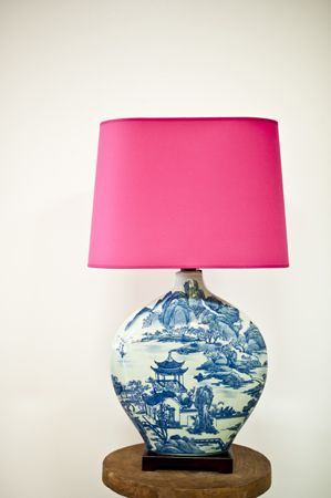 Pink lampshade on blue & white off course! Couldn't resist @Jennifer @ The Pink Pagoda !