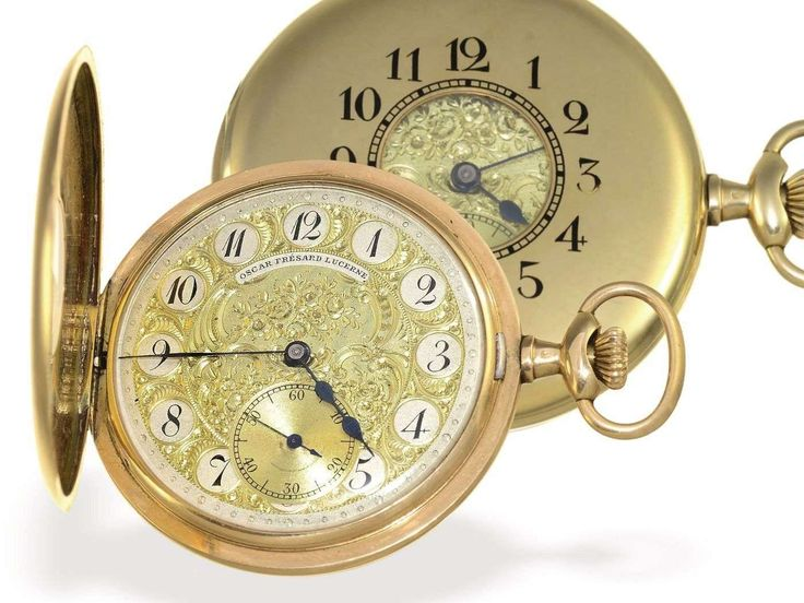 """""""Clocks, pocket watches - pocket-watch: scarce and extreme decorative half savonette, made from Longines for Oscar Frésard Lucerne, about 1910 approximate. Ø47 mm, approximate 56g, 14K Gold, flat half savonette housing high-class, all cap from Gold, both signed Longines being a also Oscar Frésard Lucerne, fine Longines precision work calibre 18. 9, extreme decorative 2-color Champlevé dial, signed Oscar Frésard Lucerne, originals, blued steel hands, functionally and in very good condition. """""""