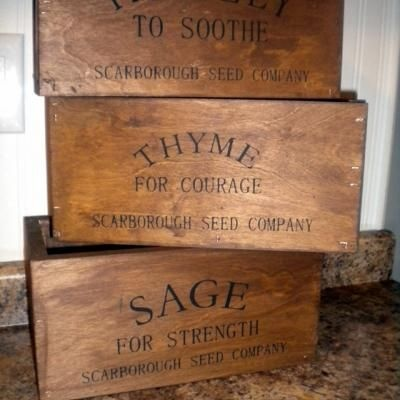 Rustic Herb Crates    Love these