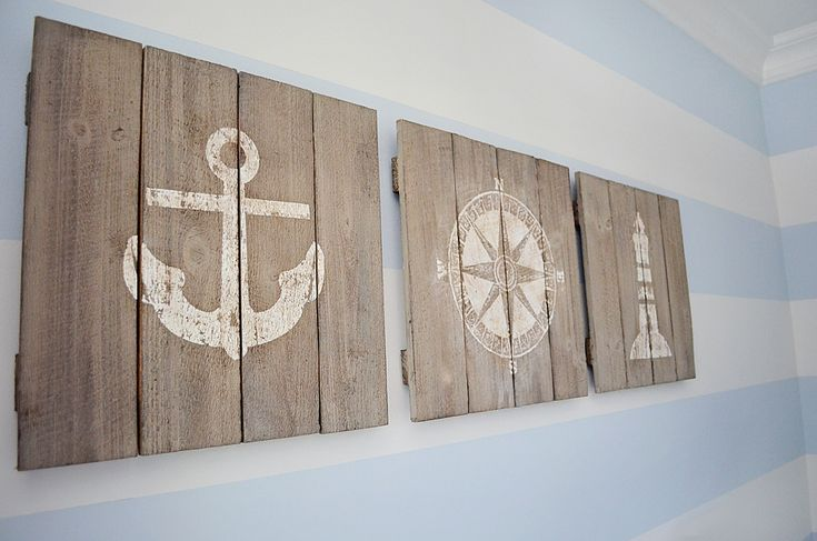 Rustic boat wood signage and nautical decor baby boy for Coastal wall decor ideas
